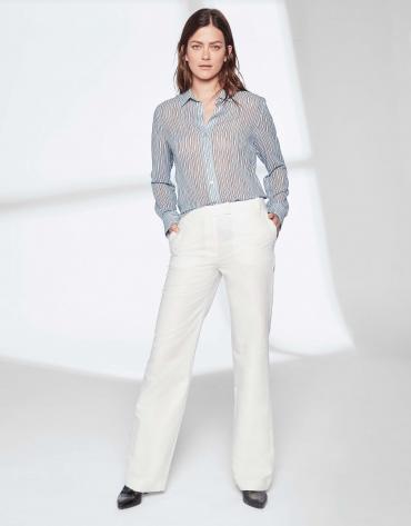 Pantalon tailleur en lin blanc