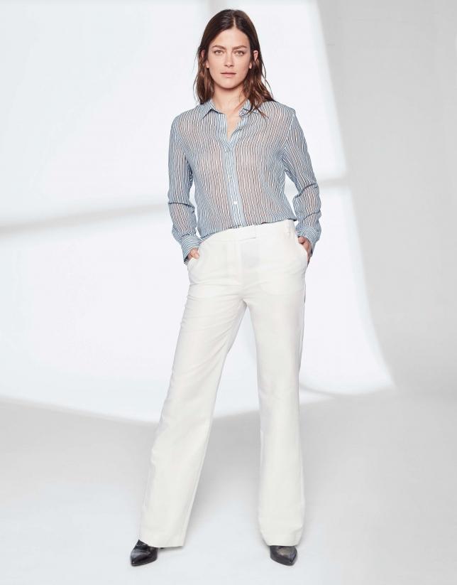 cef13d86be08f Pantalon tailleur en lin blanc - Femme - PE2019 | Roberto Verino