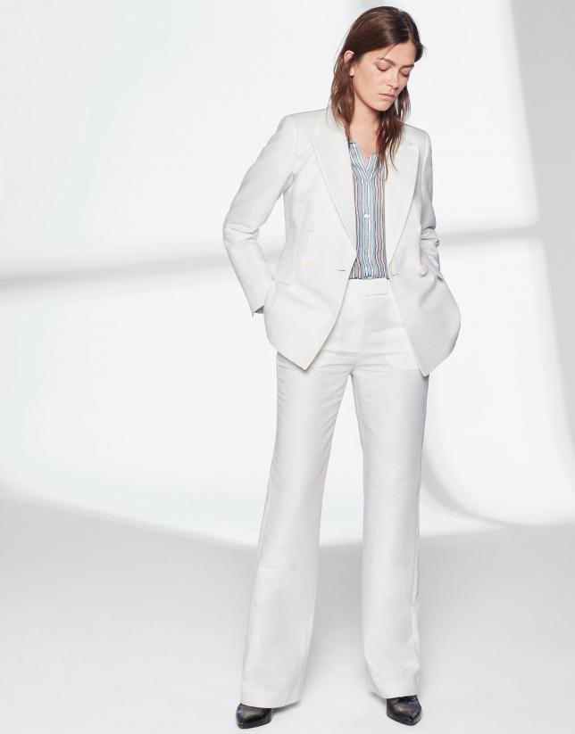 Pantalón traje lino blanco