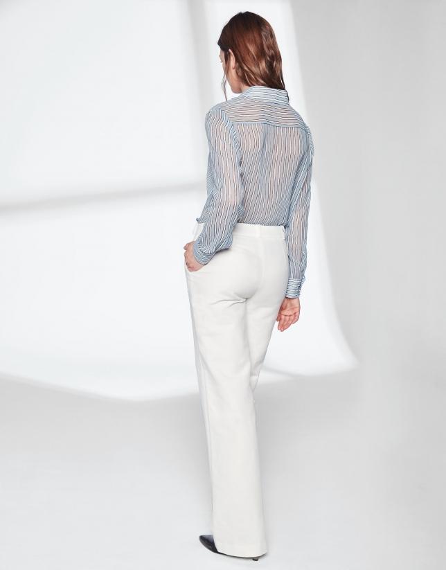 Pantalon tailleur en lin blanc - Femme -
