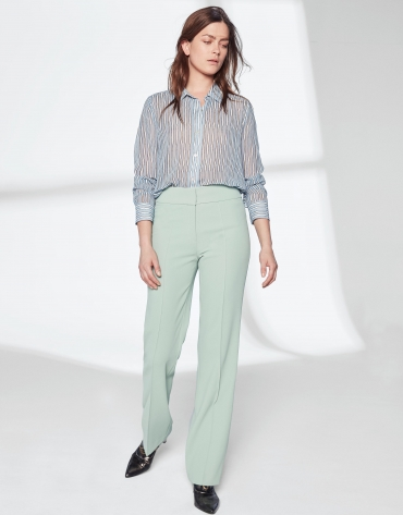 Pantalon droit vert pastel sans poches
