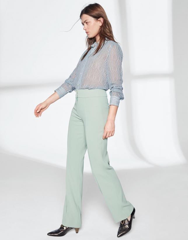 Pantalón recto verde pastel