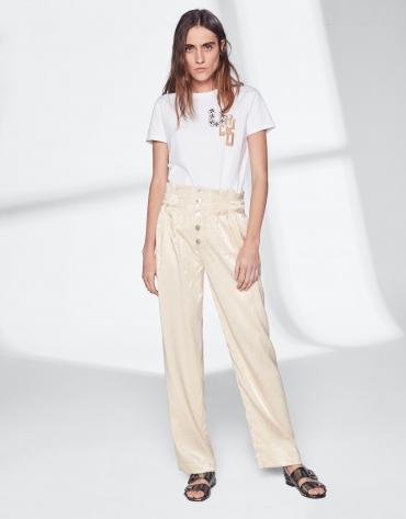 Vanilla silk straight pants
