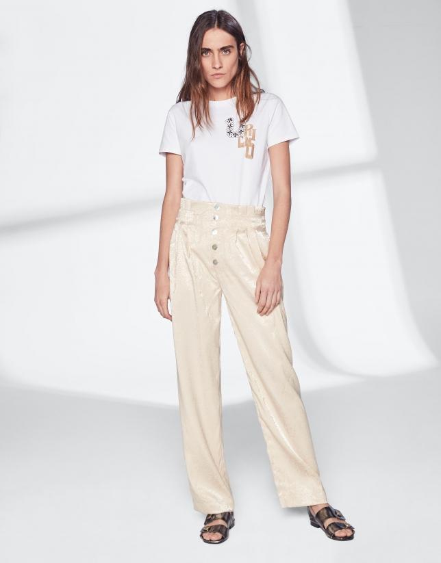 Pantalon droit couleur vanille sans poches