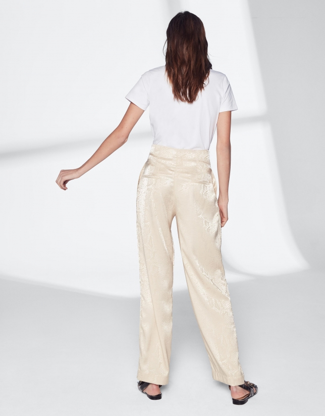 Vanilla silk straight pants
