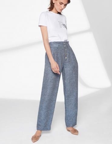 Pantalon droit en lin bleu