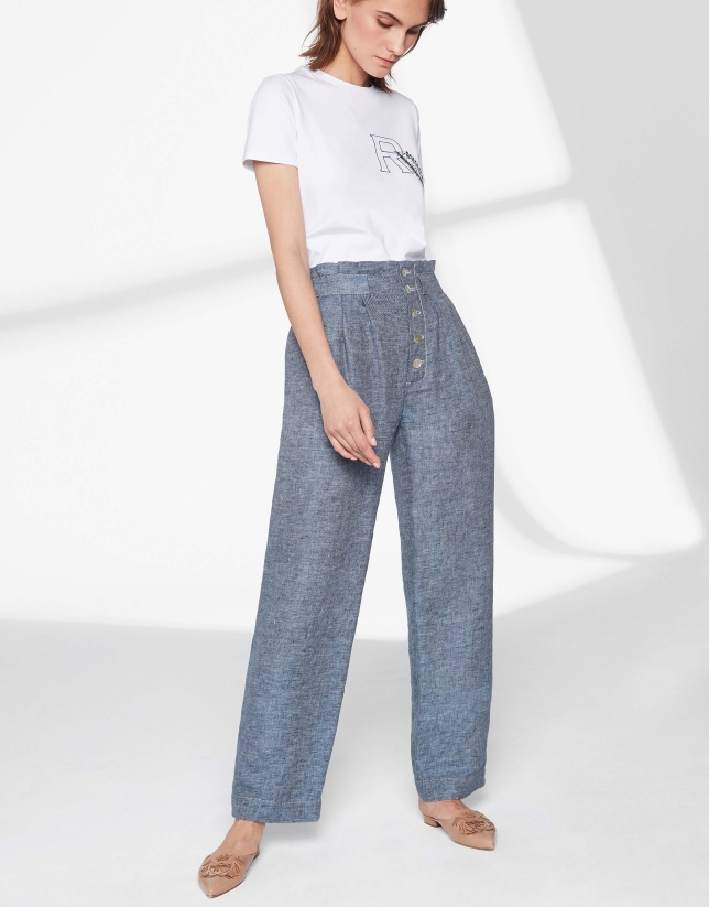 Blue linen straight pants