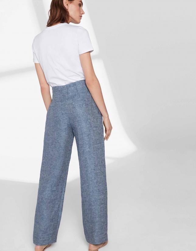 Pantalón recto lino azul