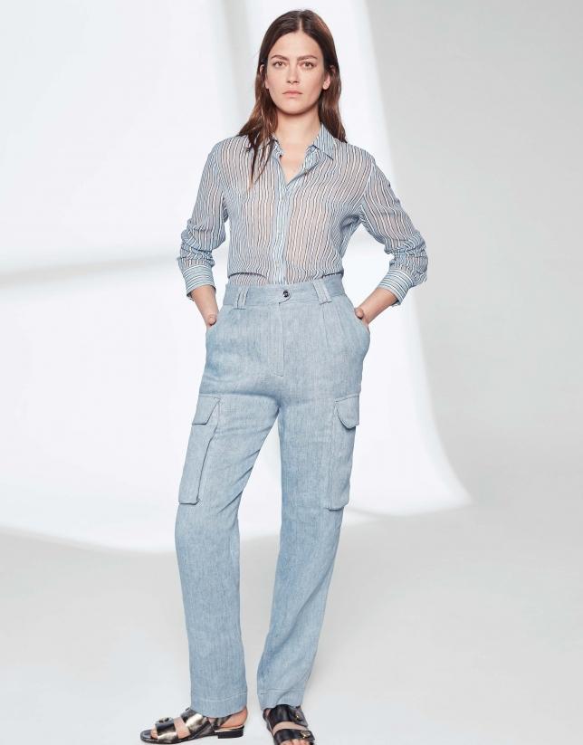 Pantalon droit cargo en lin bleu