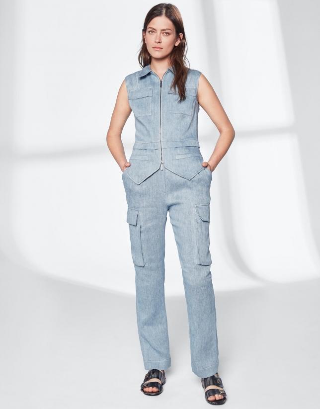 Blue linen straight cargo pants