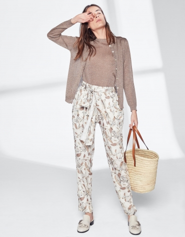 Loose pants with geese print