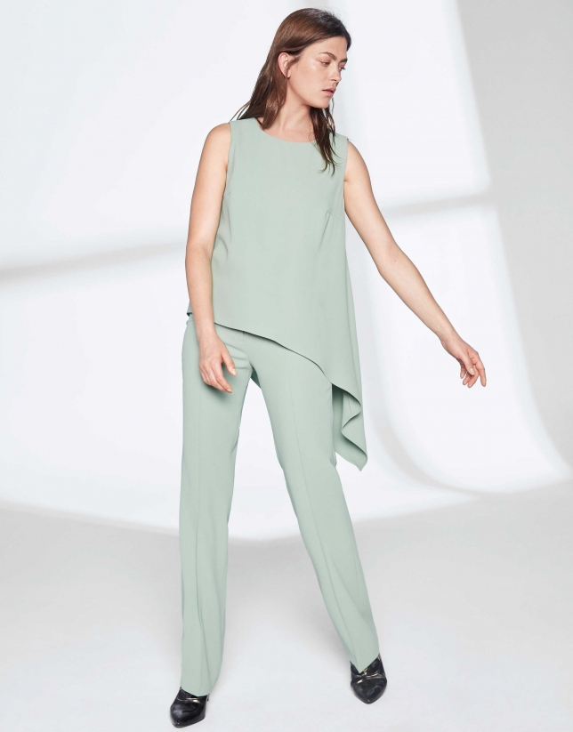 Pastel green top with asymmetric hem