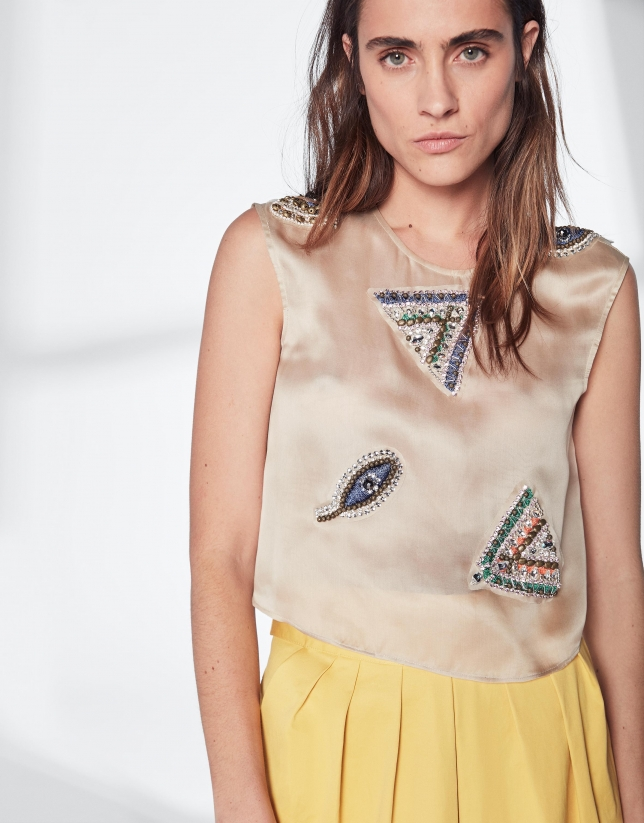 Beige silk top with appliqué