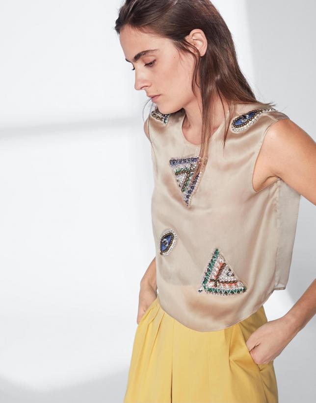 Beige silk top with appliqué