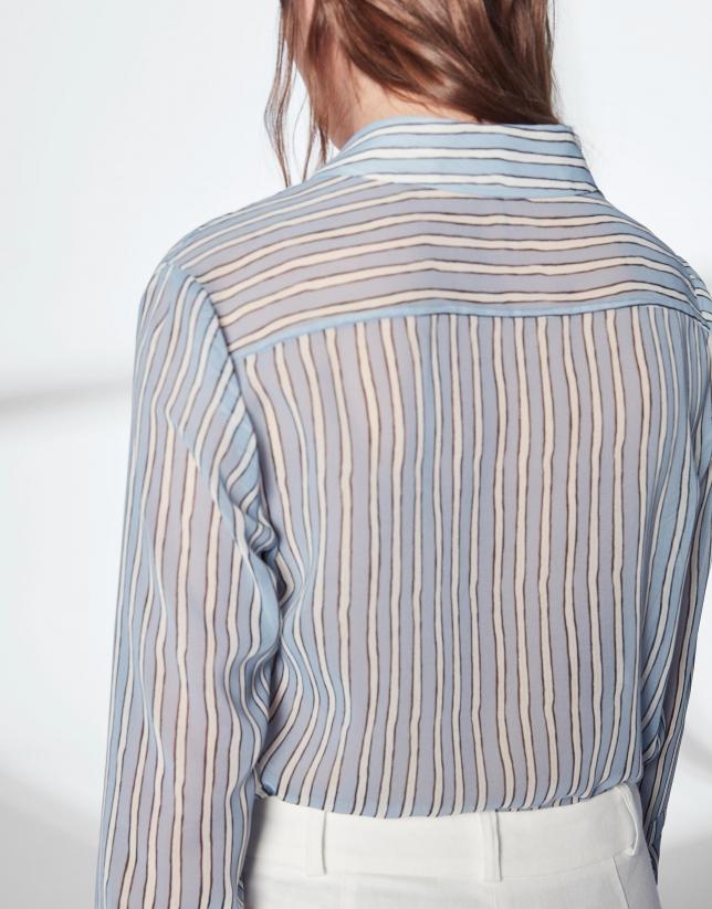 Camisa masculina rayas azul pastel