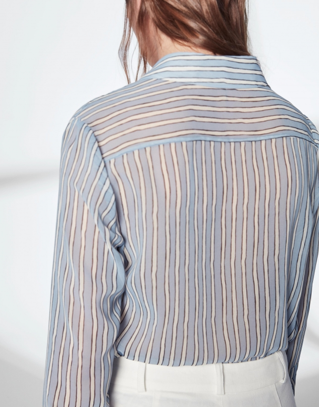 Pastel blue striped men's shirt