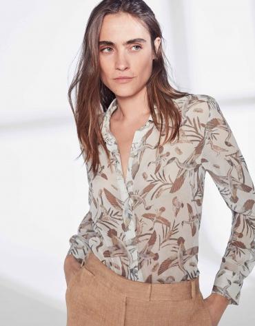 Camisa masculina estampado gansos