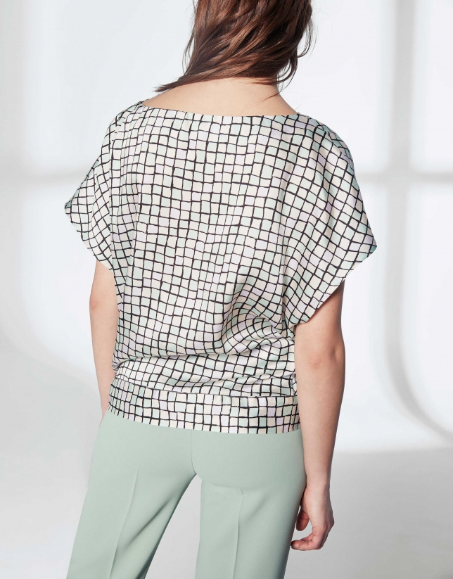Pastel checked loose top