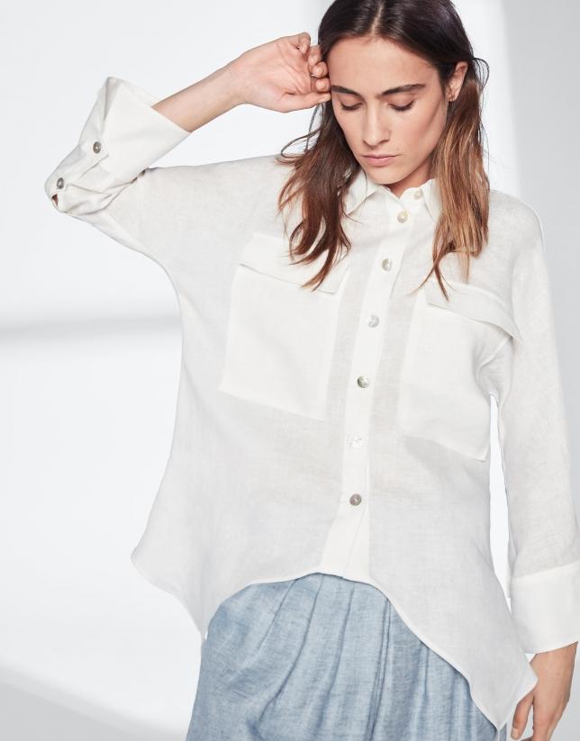 Camisa oversize lino marfil