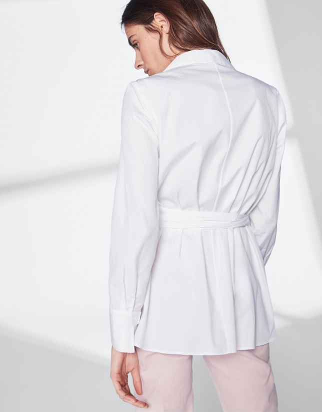 White shirt with bow at waist