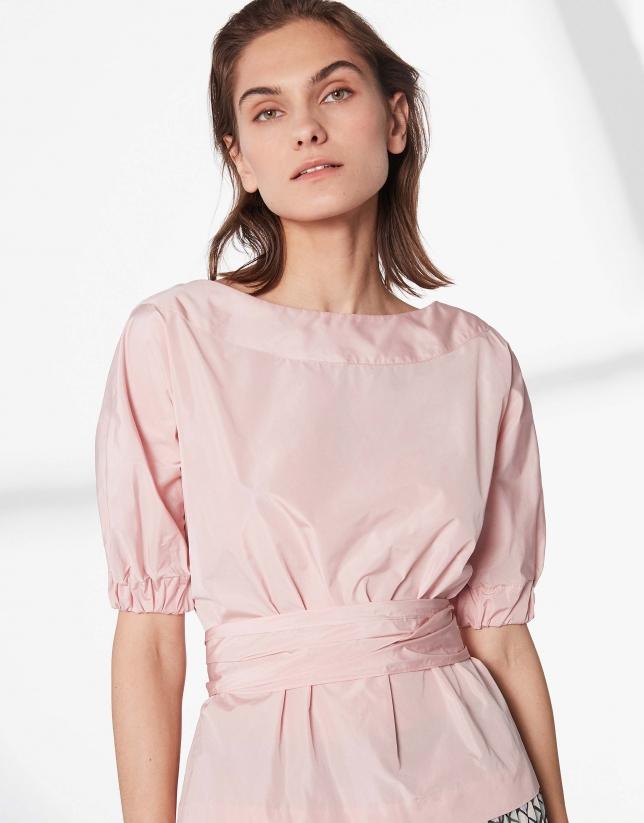 Camisa escote barco rosa