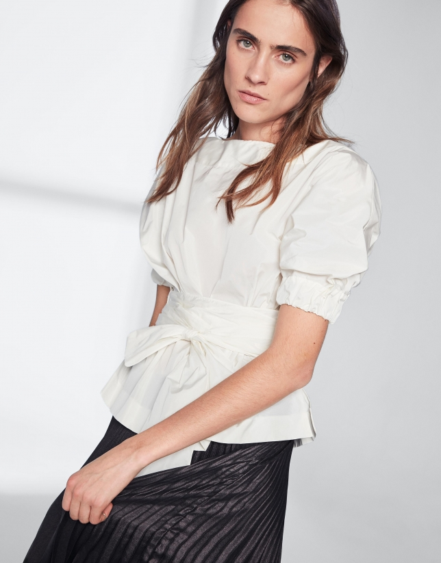 White shirt with boat neck