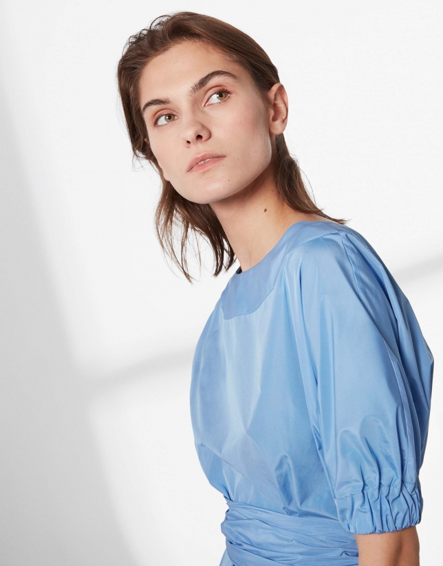 Blue shirt with boat neck