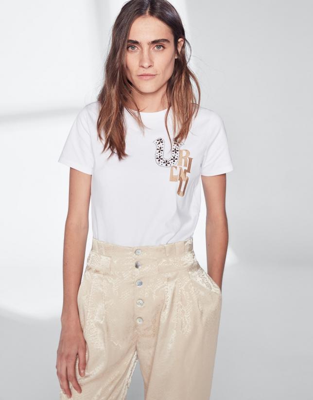 T-shirt VERINO en strass brun