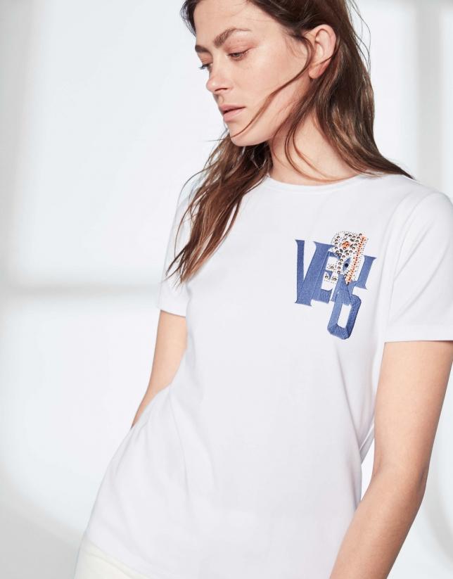 T-shirt VERINO en strass bleu