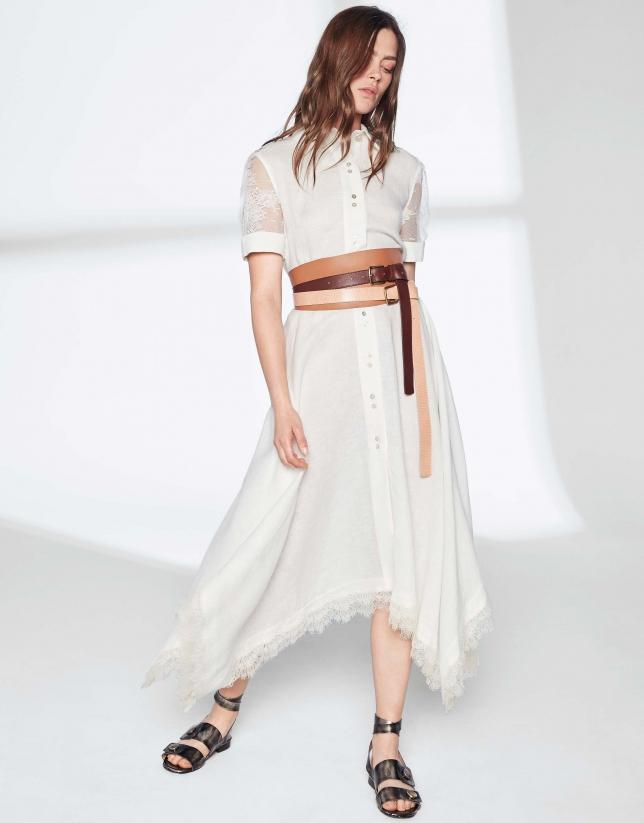Vestido marfil con encaje