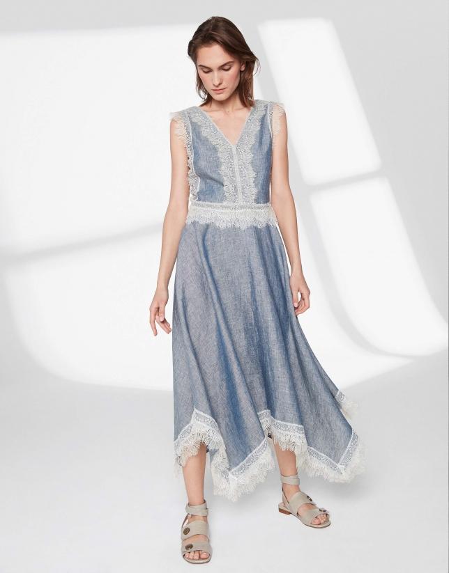 Vestido lino azul con encaje