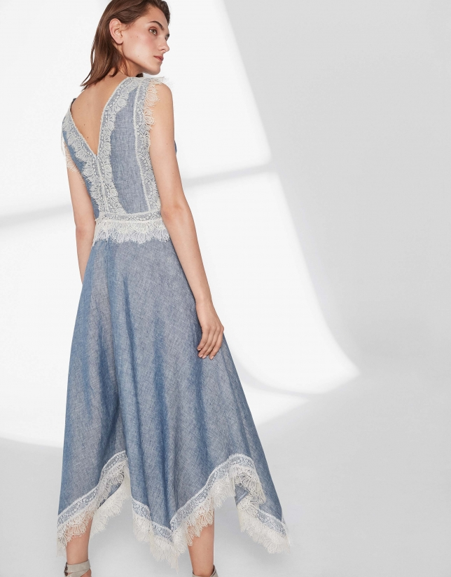 Blue linen dress with lace