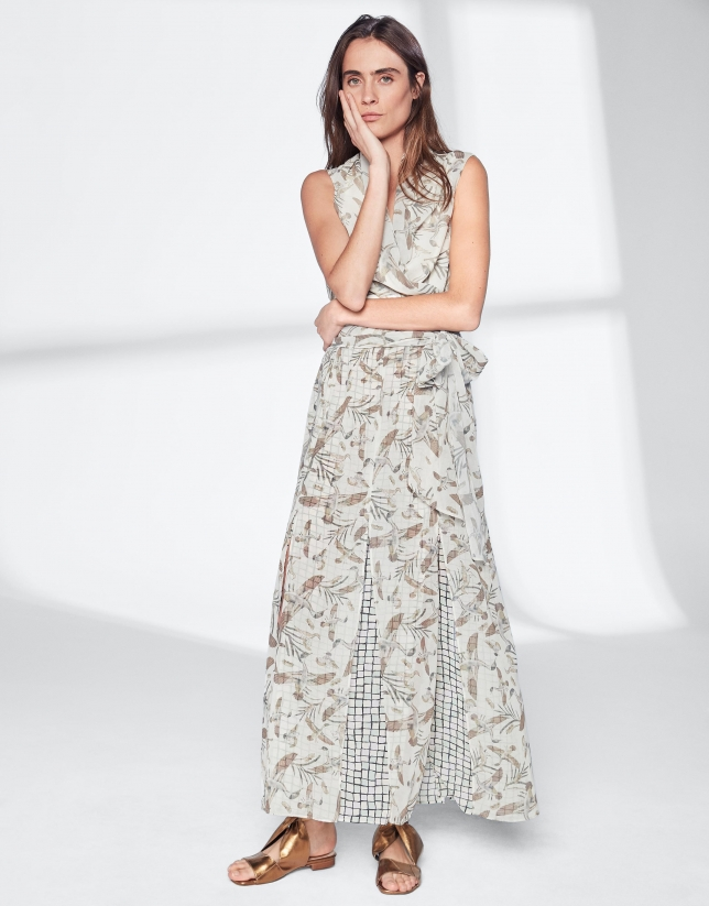 Long dress with geese print