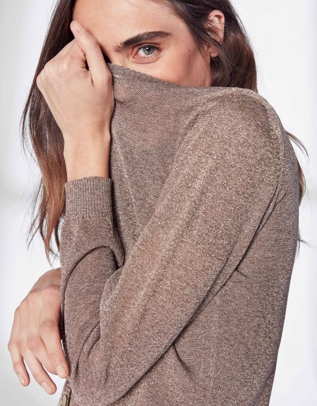 Sandy-colored knit jacket