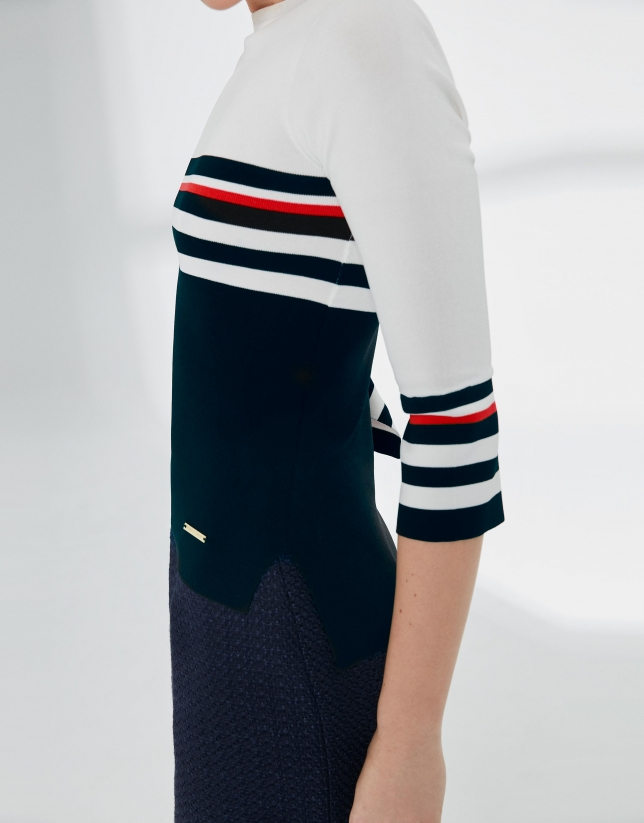 Jersey marinero azul, blanco y rojo