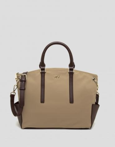 Camel midi Candem leather shopping bag