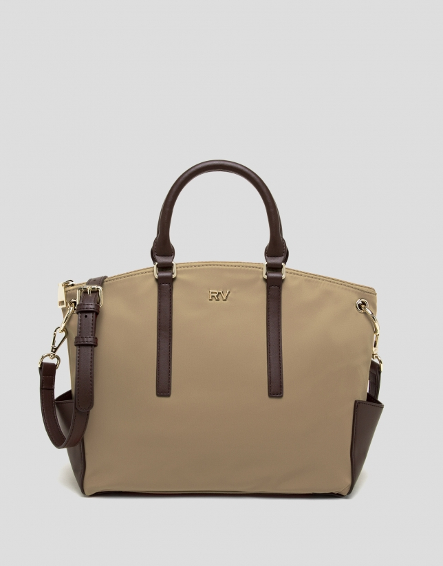 Camel midi Candem leather shopping bag