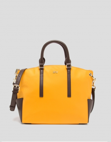 Mustard midi Candem leather shopping bag