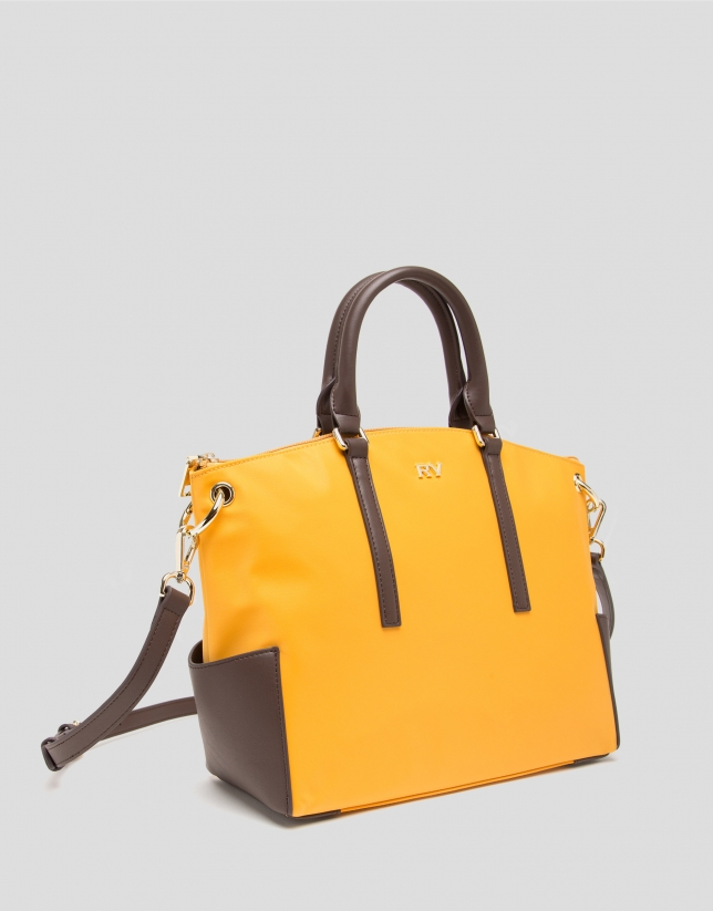 Mustard midi Candem leather shopping bag