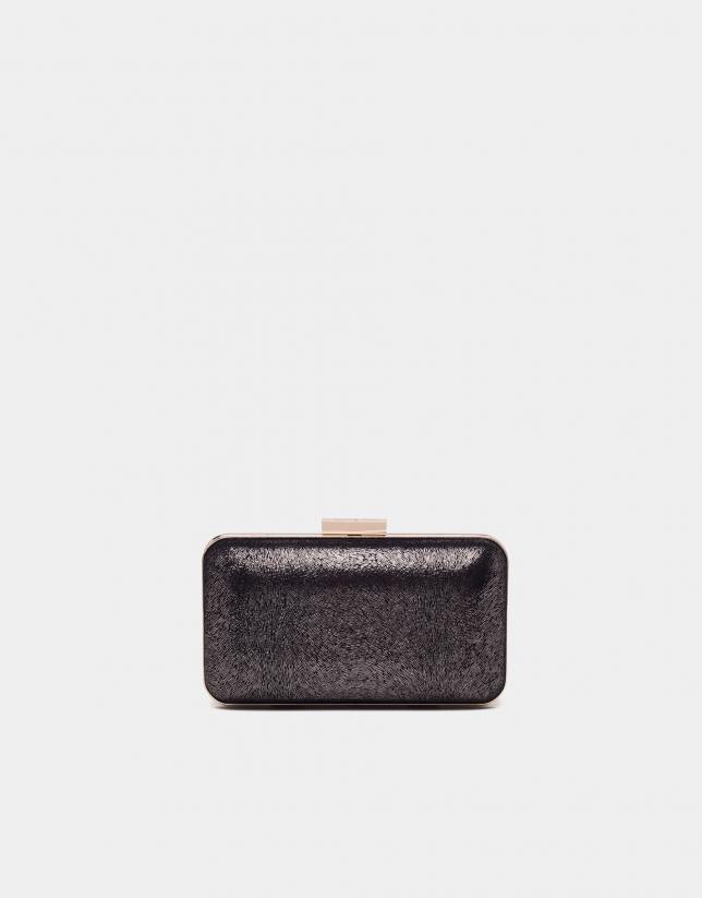 Bolso caja metalizada negra