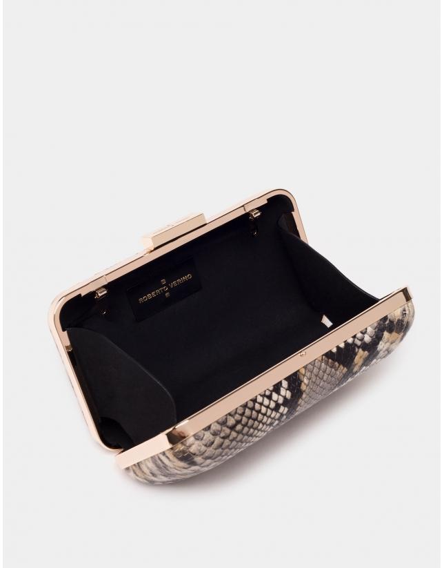 Snakeskin print box bag