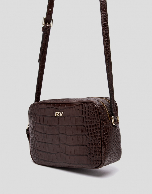 Brown alligator Taylor shoulder bag