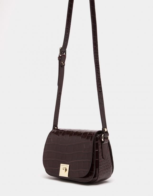 Brown alligator leather Carmen shoulder bag