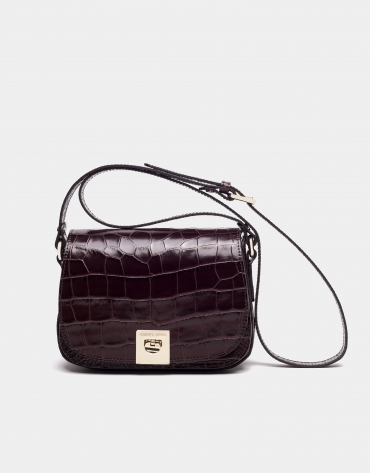 Brown alligator leather Carmen shoulder bag