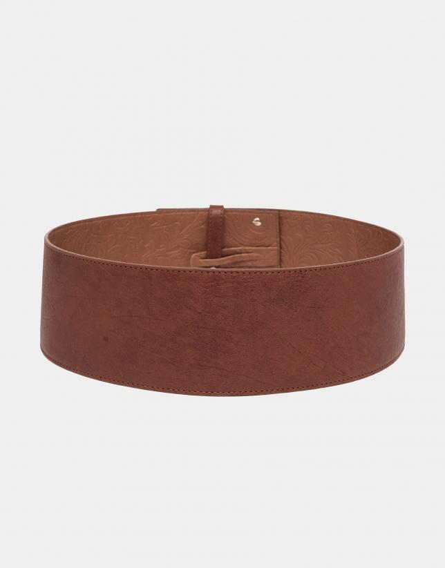 Cinturón ancho piel cuero