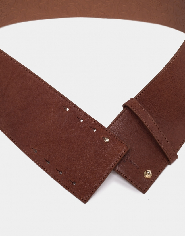 Brown leather wide belt