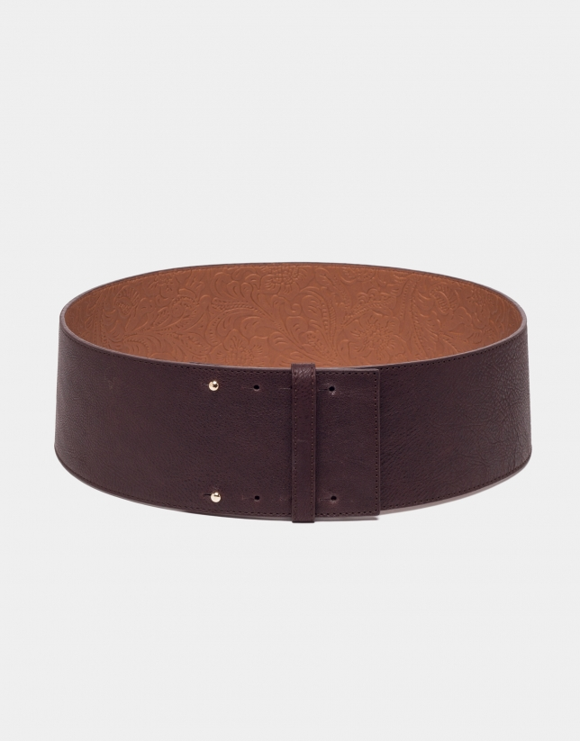 Cinturón ancho piel marrón