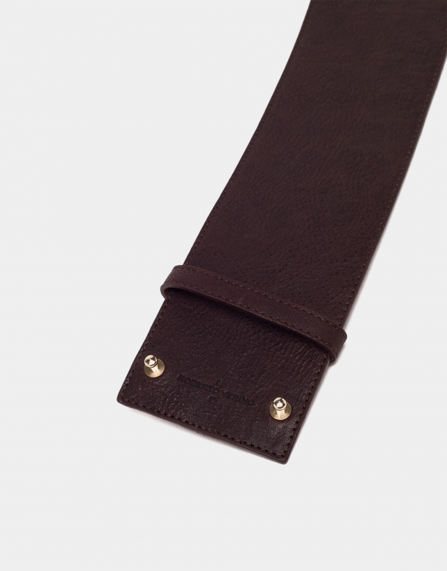 Dark brown leather wide belt