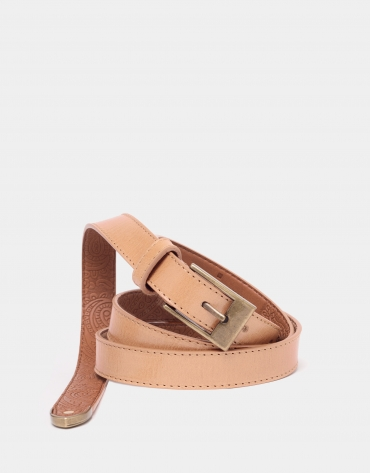 Sandy leather narrow belt