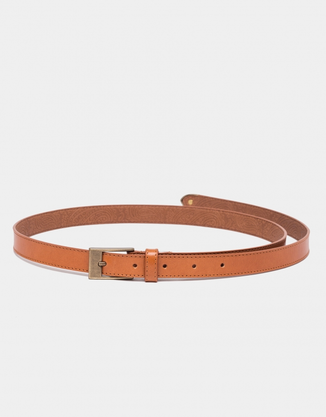 Camel leather narrow belt